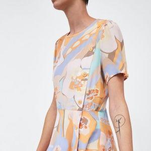 bc001cdf Zara Dresses | Pastel Pink Peach Multi Floral Dress | Poshmark